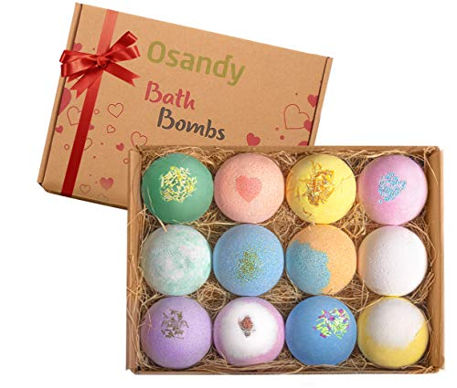 Bath Bombs Gift Set – 12 Unique Smell Natural Bath Bomb 2.5 Oz each – Essential Oil  ...