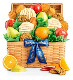GiftTree Fresh Fruit and Gourmet Cookies Happy Birthday Gift Basket | Premium Fresh Pears, Apple ...
