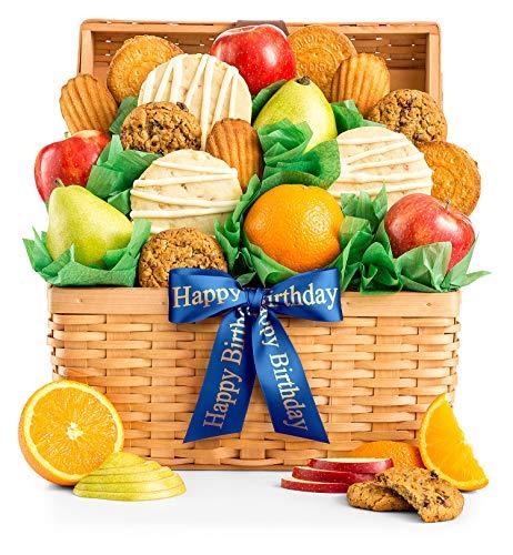 GiftTree Fresh Fruit and Gourmet Cookies Happy Birthday Gift Basket | Premium Fresh Pears, Apple ...