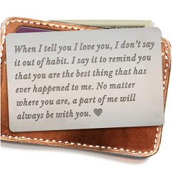 Engraved wallet insert,Stainless steel Wallet Card Insert,Engraved love message,Valentine' ...