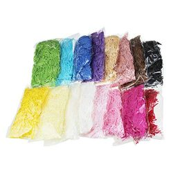 LJY 0.7LB Multicolored Raffia Paper Shreds & Strands Shredded Crinkle Confetti for DIY Gift  ...