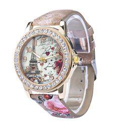 Women's Wrist Watch Vintage Paris Eiffel Tower Crystal Leather Quartz Wristwatch Best Gift ...