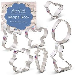 Ann Clark Cookie Cutters 7-Piece Easter Cookie Cutter Set with Recipe Booklet, Egg, Carrot, Bunn ...