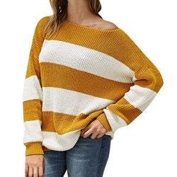 New in HAALIFE◕‿ Women Stripe Sweatshirts V Neck Sweatshirt Casual Long Sleeve Tunic Comfy Soft  ...