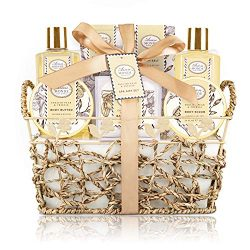 Bath & Shower Spa Gift Basket Set, with English Pear & Freesia Fragrance Bath Gift Baske ...