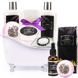 Aromatherapy Ylang Ylang & Lavender Spa Gift Basket! Luxurious Natural Bath and Body Spa Kit ...