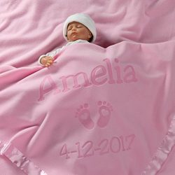 Personalized Newborn Gifts for Baby Girls, Boys, OR Parents – (36 x 36 inch) Satin Trim Cu ...