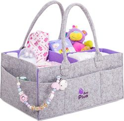 Baby Diaper Caddy Organizer – Portable Large Gray Felt Diaper Caddy Tote for Changing Tabl ...