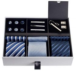 Premium Men's Gift Tie Set Luxury Silky Necktie Set Pocket Squares Tie Clips Cufflinks Del ...