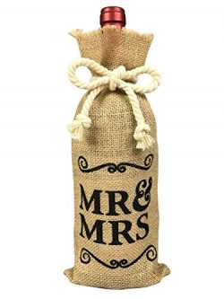 Mr and Mrs Burlap Wine Bag, Engagement Gift Wine Bag, Mr and Mrs Wedding Gift for Couple