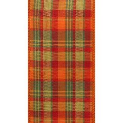 Holiday Cider Plaid Wired Ribbon – 2 1/2″ x 50 Yards, Orange, Green, Red Fall Plaid  ...