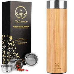 Bamboo Tea Tumbler with Stainless Steel Tea Infuser – 17 oz Double Wall Vacuum Insulated T ...