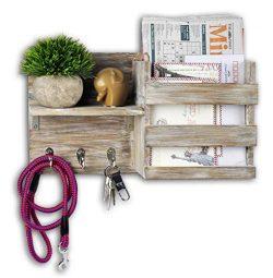 Spiretro Wall Mount Entryway Mail Envelope Organizer, Key Holder Hooks, Leash Hanging, Coat Rack ...