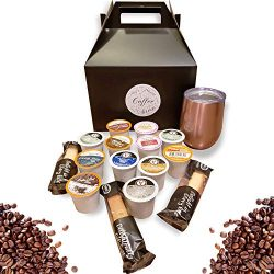Coffee Sampler and Travel Mug Gift Set for Coffee Lovers (Gold)