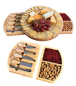 Cheese Board and Knife Set – Wooden Charcuterie Board – Premium Platter & Servin ...