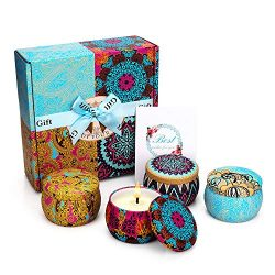 Yinuo Mirror Scented Candles Gift Set, Natural Soy Wax 4.4 Oz Portable Travel Tin Candles Women  ...