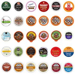 Coffee, Tea, Cappuccino and Hot Chocolate Variety Sampler Pack for Keurig K-Cup Brewers, 30 Coun ...