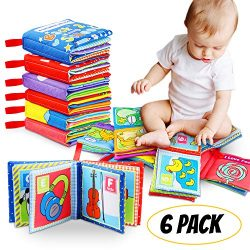 Tencoz Cloth Book Baby, Baby's First Non-Toxic Soft Cloth Book Set Infant Children Educati ...