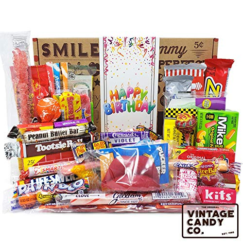 VINTAGE CANDY CO. HAPPY BIRTHDAY NOSTALGIA YEARS CANDY CARE PACKAGE – Retro Candies Assort ...