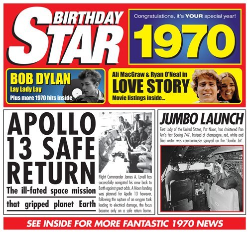 1970 Birthday Gift – 1970 Chart Hits Cd and 1970 Birthday Card