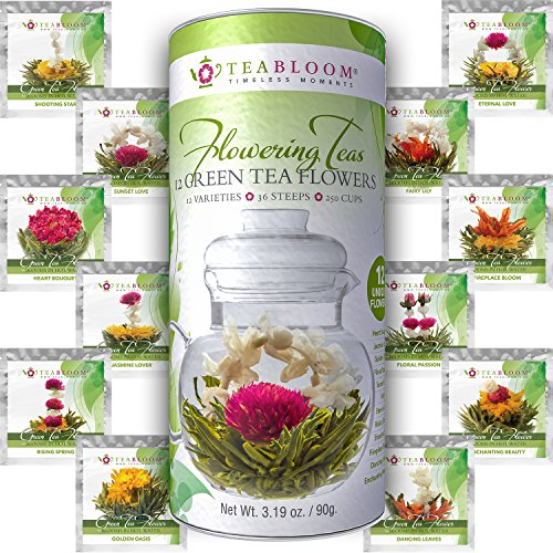 Teabloom Flowering Tea – 12 Unique Varieties of Blooming Tea Flowers – Hand-Tied Nat ...