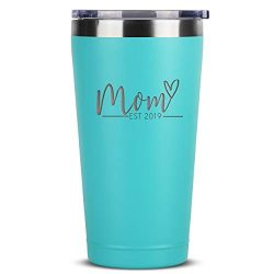 Sodilly Mom Est. 2019 16 oz Mint Stainless Steel Tumbler w/ Lid