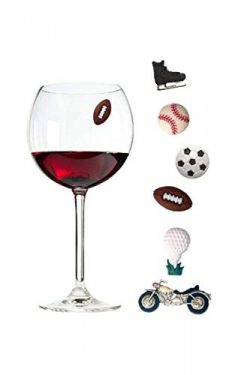 Wine Charms for Men Set of 6 Magnetic/sports Drink Markers by Simply Charmed