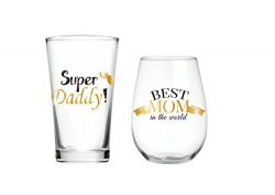 Super Daddy & Best Mom in the World Pint & 22 oz wine glass Set of 2, Christmas Gift, Gi ...
