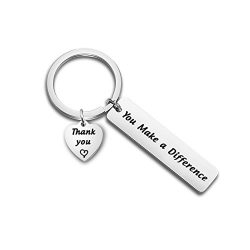 TGBJE Thank You Gift You Make a Difference Keychain Stainless Steel Keyring Gift for Volunteer A ...