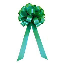 Emerald Green Pull Bows with Tails – 8″ Wide, Set of 6, St. Patrick's Day Ribb ...