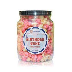 Birthday Cake Popcorn – Gourmet Popcorn Gift Jar Plant Based Snack -15 Ounces