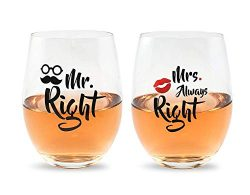 Mr Right and Mrs Always Right Wine Glasses Gift Set For Bridal Shower, Married Couples, Weddings ...