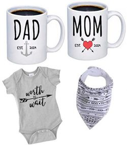 "Pregnancy Gift Est 2019 – New Mommy and Daddy Est 2019 11 oz Mug Set with""Worth The  ..."