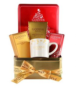 Thoughtfully Gifts, Godiva Hot Chocolate and Coffee Set, Includes Mug, 2 Flavor Packets of Cocoa ...