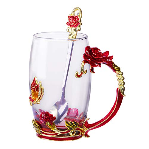 Tea Cup Coffee Mug Glassess Cups & Spoon Beautiful Unique Gift For Women Butterfly Rose (Ros ...