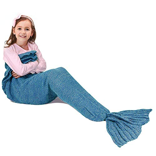 Fu Store Mermaid Tail Blanket Crochet Mermaid Blanket for Adult Kids, Super Soft All Seasons Sof ...