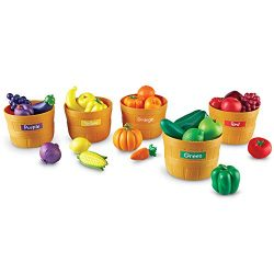 Learning Resources Farmer's Market Color Sorting Set, Play Food, Fruits and Vegetables Toy ...
