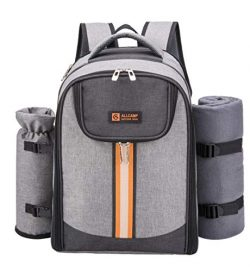 ALLCAMP Picnic Backpack Bag for 4 Person with Cooler Compartment & Picnic Blanket & Wine ...