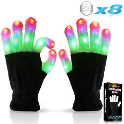 Kids Led Flashing Finger Lights Gloves 3 Colors 6 Modes for 3 4 5 6 7 8 9 10 11 12 13 Years Old  ...