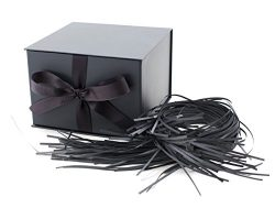 Hallmark 7″ Large Gift Box with Lid and Paper Fill (Solid Gray) for Weddings, Graduations, ...