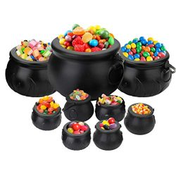 Tebery 9 Pack Black Cauldron Multi-purposed Novelty Candy Holder Pot with Handle for Halloween,  ...
