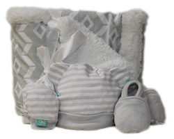 Newborn Baby Gift Basket with Blanket and hat, Mitts, Boots Set (Grey)