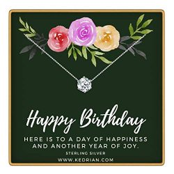 KEDRIAN Happy Birthday Necklace, 925 Sterling Silver, Happy Birthday Mom Gifts, Fun Birthday Gif ...