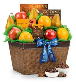 GiftTree Get Well Fresh Fruit & Godiva Chocolates Gift Basket | Includes Gourmet Chocolates  ...