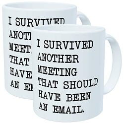 Pack of 2 – I survived another meeting that should have been an email – 11OZ ceramic ...