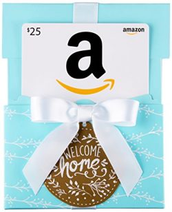 Amazon.com $25 Gift Card in a Welcome Home Reveal (Classic White Card Design)