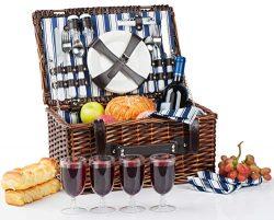 Picnic Basket for 4 | Handmade Picnic Hamper Set | Ceramic Plates Complete Kit Includes Metal Fl ...