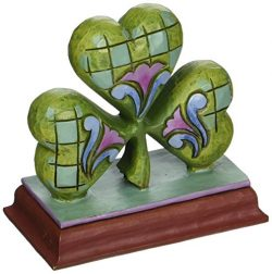 Jim Shore Heartwood Creek Mini Shamrock Stone Resin Figurine, 2.875″