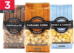 Caramel Popcorn Gourmet Popcorn Assortment (3pack) – Hand Made, Small Batch, Kettle Coated ...