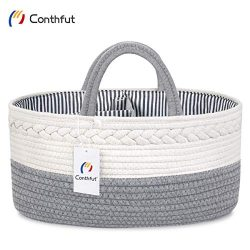 Conthfut Baby Diaper Caddy Organizer Handmade 100% Cotton Rope Nursery Storage Bin for Boys and  ...